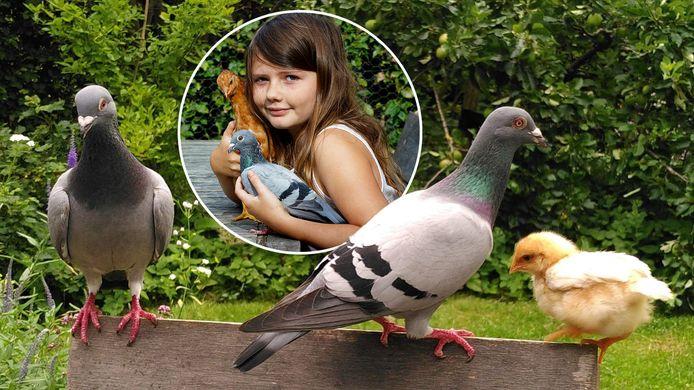 Een familiefoto. Vader Armando, moeder Saar en kip Mosterd. En Fien natuurlijk!