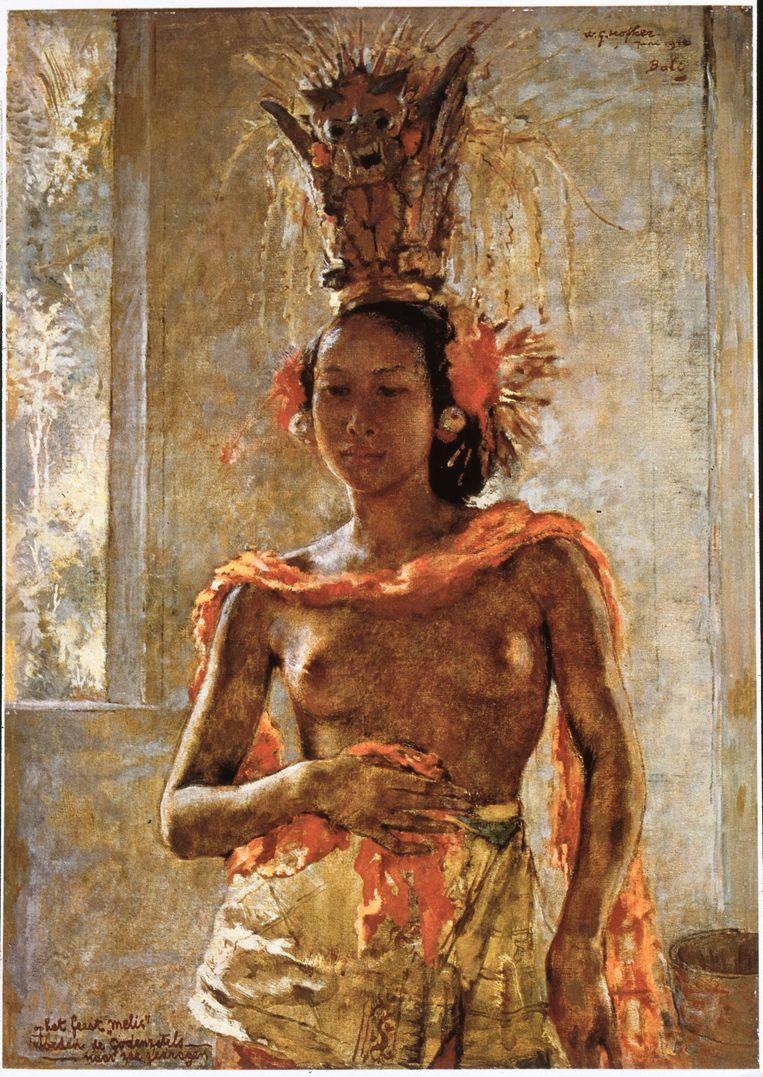 'Ni Rindit draagt godenzetel', een van de zes gestolen werken van Willem Gerard Hofker (1902-1981) die opdoken in de collectie van president Soekarno (nu: Indonesische staatscollectie). Beeld Erven Hofker, Pictoright Amsterdam