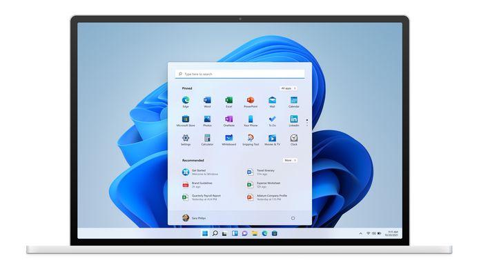 Het nieuwe ontwerp van Windows 11.