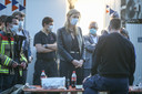 Annelies Verlinden bezoekt de commandopost aan de brand