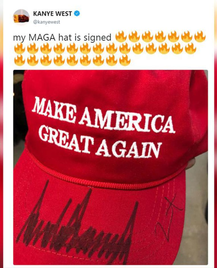 Kanye's tweet over zijn door president Trump gesigneerde MAGA-pet. Beeld