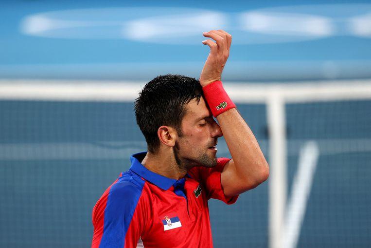 Novak Djokovic vrijdag tijdens de halve finale tegen Alexander Zverev. De nummer 1 van de wereld werd uitgeschakeld. Beeld REUTERS