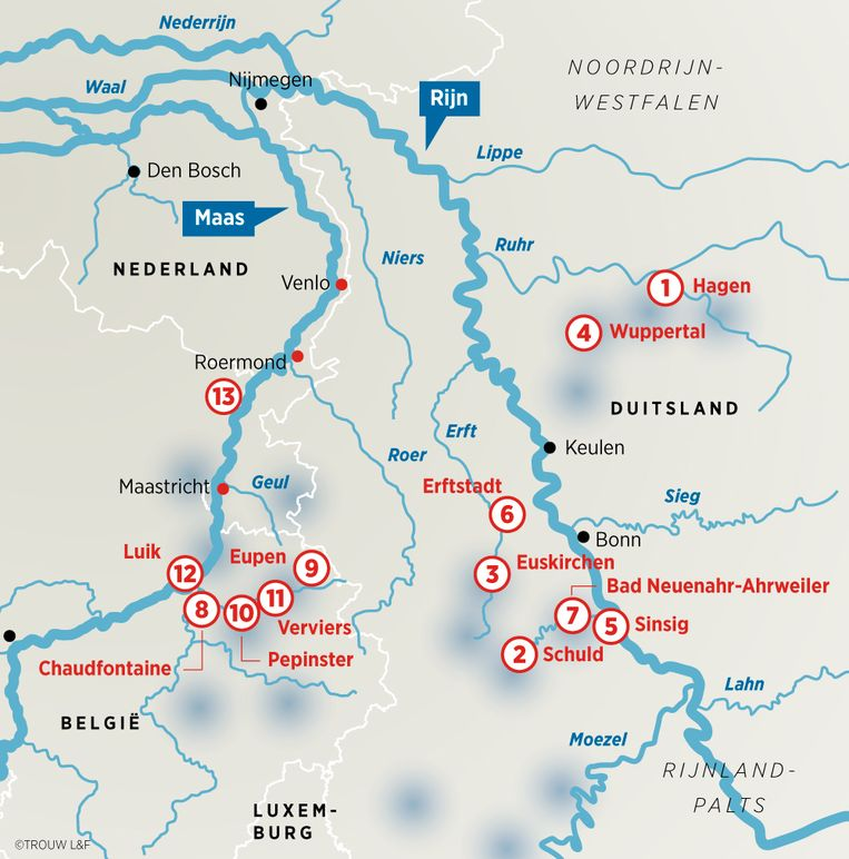 Hoogwater in Duitsland en België. Beeld Louman & Friso
