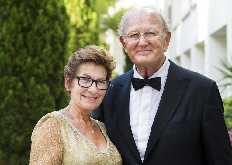 Joop en Janine van den Ende in Port Soller tijdens de bruiloft van hun dochter Iris van den Ende en Vincent Biekman op 30 juni 2018.  Beeld ANP Kippa