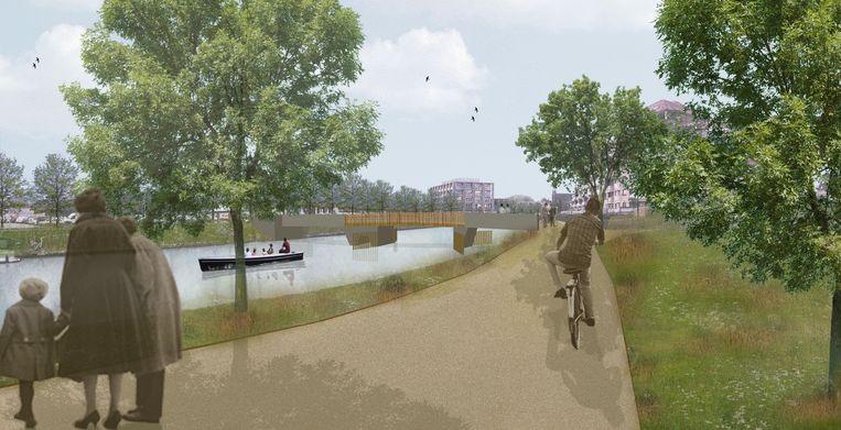 Een simulatie van de toekomstige ophaalbrug over de Leie. Tegen mei volgend jaar is ze klaar.