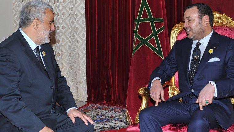 Abdelilah Benkirane vandaag bij de Marokkaanse koning Mohammed VI. Beeld afp