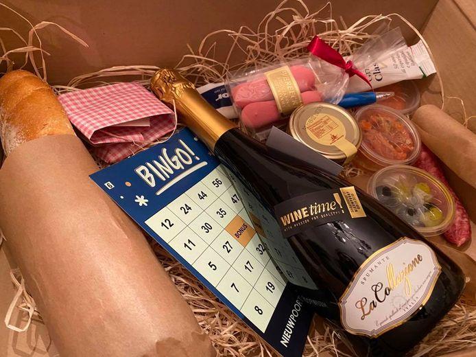 Deze aperitiefbox krijgen de deelnemers thuis geleverd.