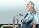 Rechtbanktekening van E.F., verdachte van de moord op een 82-jarige vrouw op appartementencomplex Parc Zonnehove in Oostkapelle.