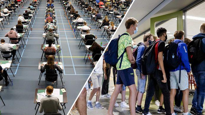 Tafels ver uit elkaar en mondkapjes op tót je op je stoel zit: de eerste examens in coronatijd zijn anders dan normaal.
