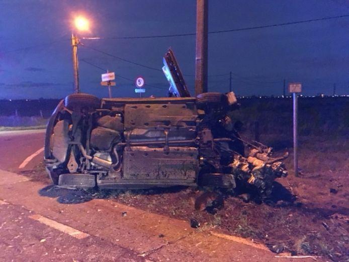 De Volkswagen Scirocco raakte ernstig beschadigd.