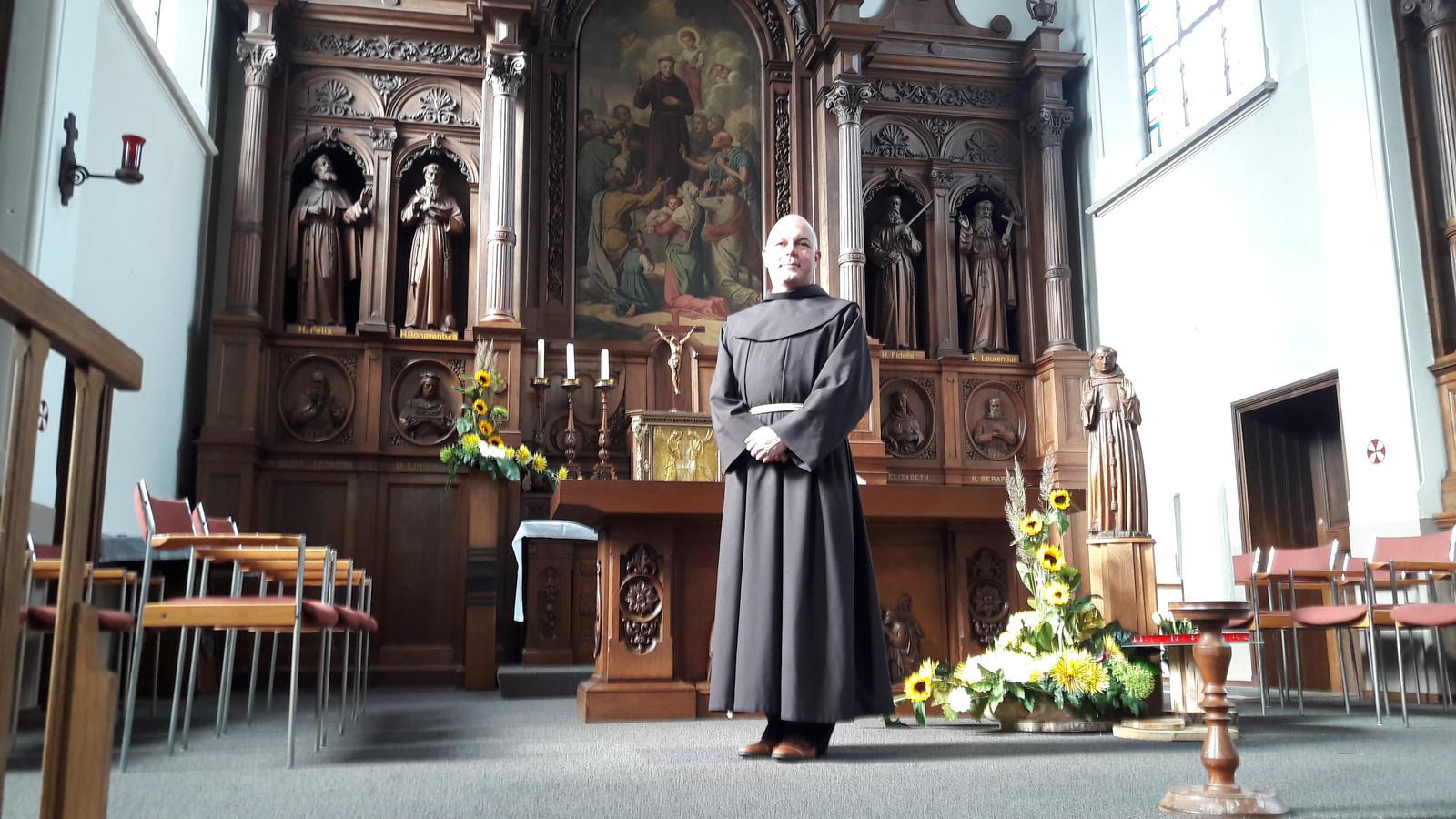 Rangeel Geerman, franciscaan in Stadsklooster San Damiano in Den Bosch. ,,Het was best moeilijk om na bijna twintig jaar weg te gaan uit Megen, maar het bevalt me hier nu goed''