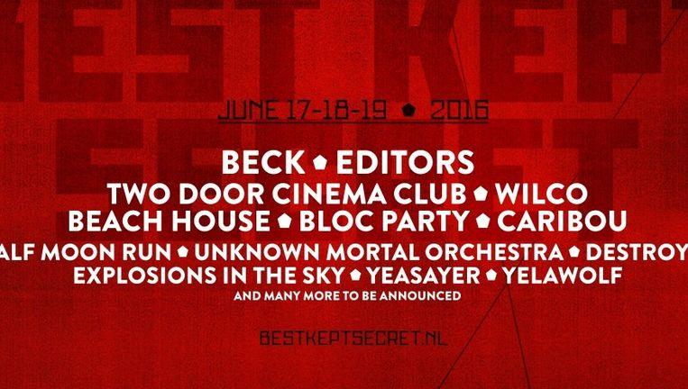 Beck en Editors zijn enkele van de acts die optreden tijdens Best Kept Secret 2016. Beeld Best Kept Secret.