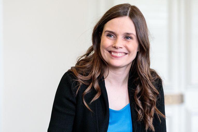 Katrin Jakobsdottires, premier van IJsland.  Beeld Getty Images