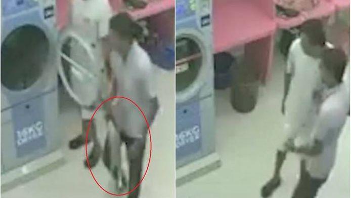 Capture d'écran des images de vidéosurveillance de la laverie