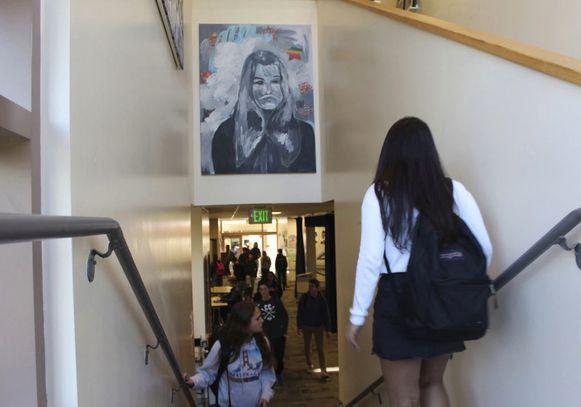 Een kunstwerk van James Franco in zijn middelbare school.