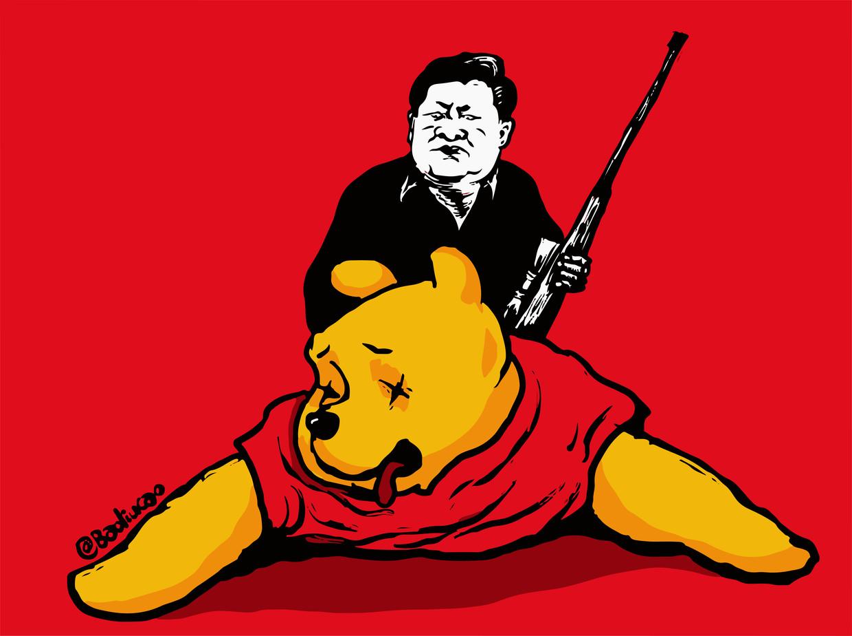 In de cartoon 'Bear Hunt' bespot de Chinese cartoonist Badiucao (een pseudoniem) president Xi's verbod op het tonen van Winnie de Poeh, met wie hij werd vergeleken. Beeld Badiucao
