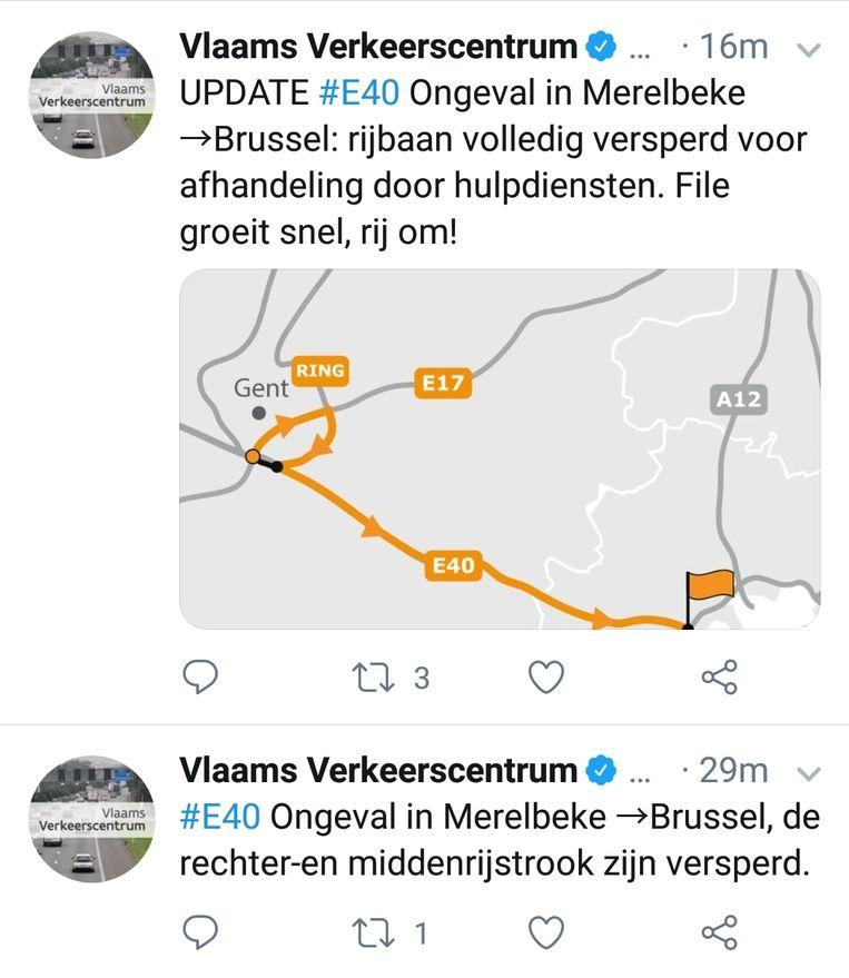 De E40 werd ter hoogte van Merelbeke afgesloten voor de afhandeling van het ongeval.