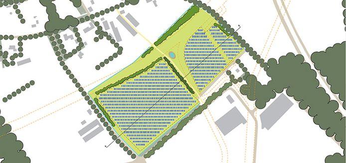 Schets van het zonnepark De Mun, met rechtsonder bedrijventerrein Vorstengrafdonk en boven de kom van Oss.
