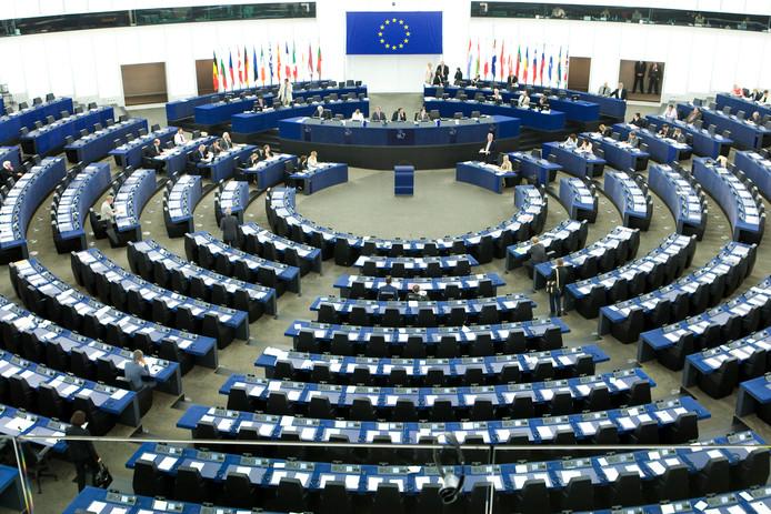 De grote vergaderzaal van het Europees Parlement in Straatsburg.