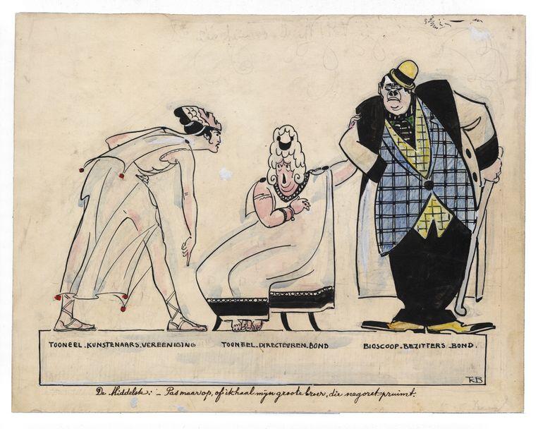 Spotprent uit 1920. De bond van toneeldirecteuren poeiert de eisende toneelspeler af door te dreigen met haar grote broer, de zware tabak pruimende bioscoopeigenaar. Beeld