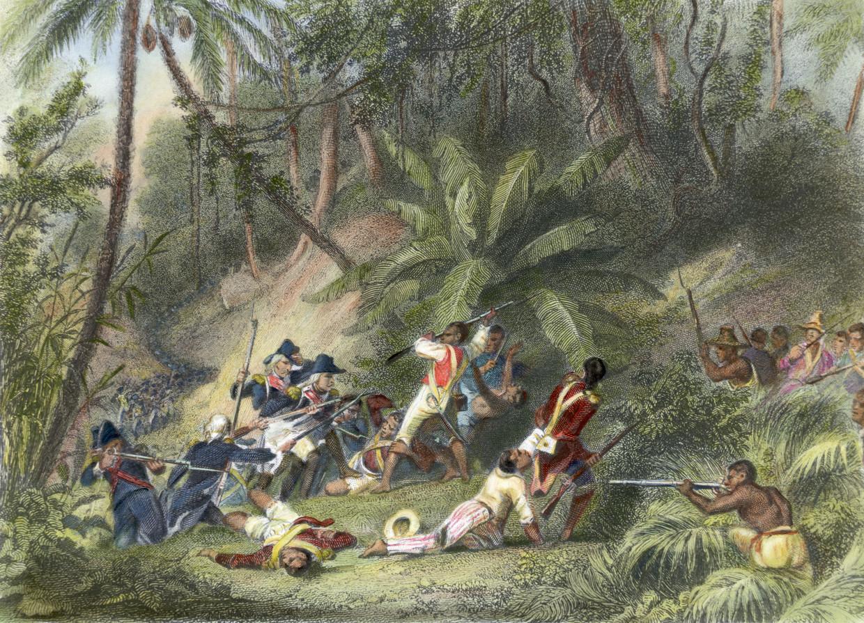 Tekening van voormalige slaaf en leider van de opstand Toussaint L'Ouverture, die deelneemt aan de succesvolle opstand tegen de koloniale macht in Haïti. Beeld Bettmann Archive