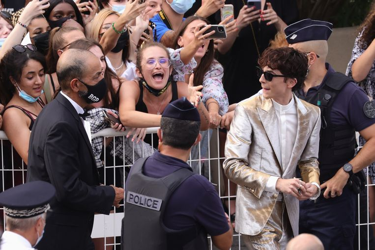Timothée Chalamet op de rode loper in Cannes. Beeld Getty Images