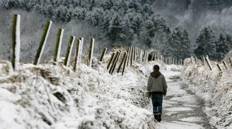 De heuvels bij het Zuid-Limburgse dorpje Vijlen in de sneeuw.  (ANP, Marcel van Hoorn) Beeld