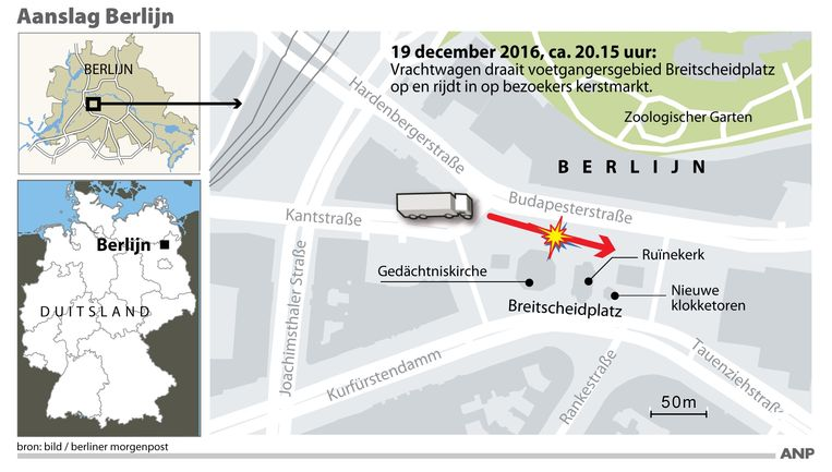 Detailkaart centrum Berlijn waar een vrachtwagen op een kerstmarkt inreed. Beeld Infografieken Nederland