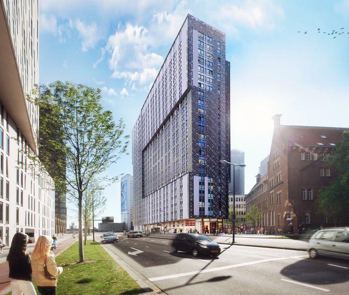 Zo ziet woontoren  OurDomain er uit in 2021. Zeventig meter hoog, met in de plint volop vertier.