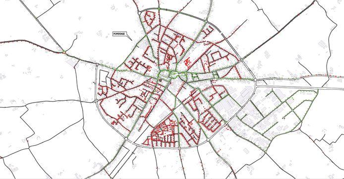 De groene verlichtingspunten, de grote invalswegen, blijven branden in het doofscenario. De rode verlichtingspunten worden gedeeltelijk gedoofd, behalve op vrijdag en zaterdag.