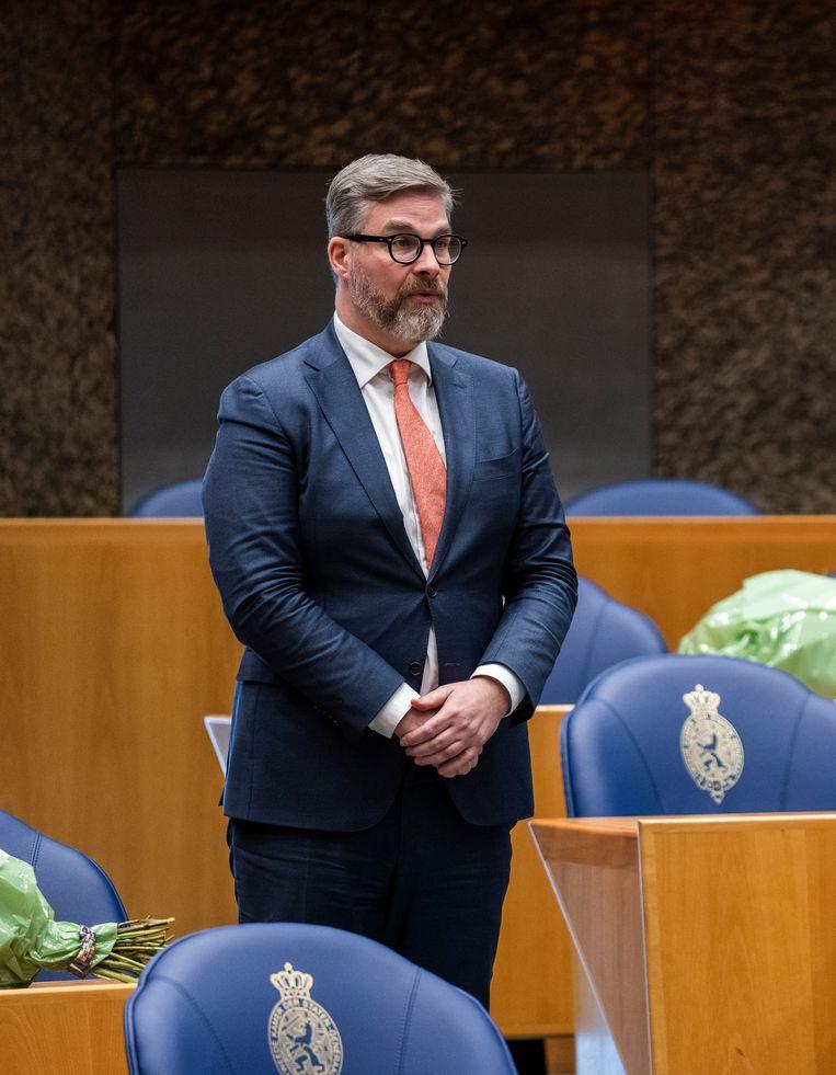 Sidney Smeets tijdens zijn beëdiging als Tweede Kamerlid op 31 maart 2021. Beeld Freek van den Bergh / de Volkskrant