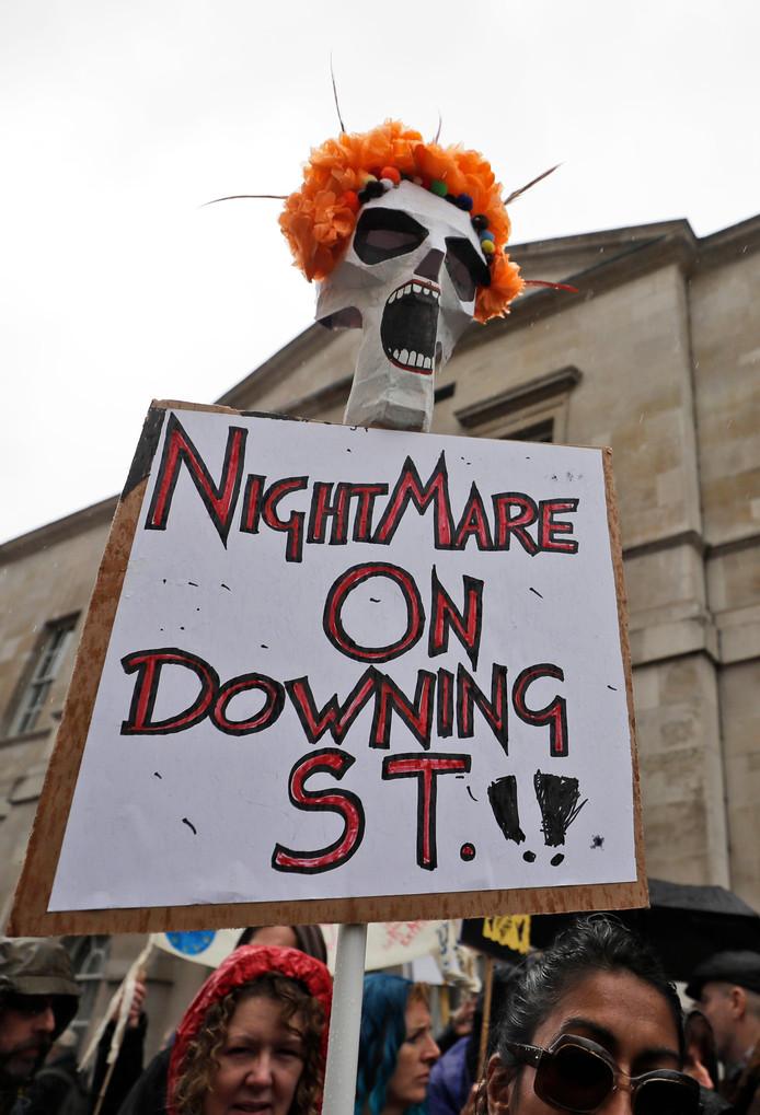 Anti-Brexit supporters tijdens een protest in Londen, zaterdag.
