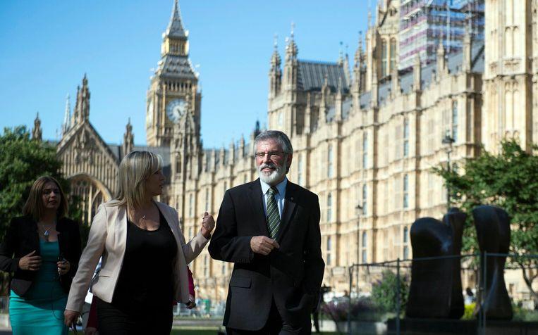 Sinn Fein-leider Gerry Adams bij the Houses of Parliament in Londen. Beeld epa