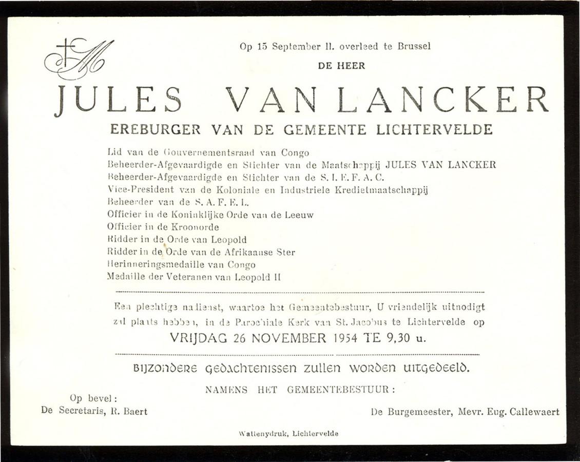 De rouwbrief van Van Lancker. ZIjn uitvaart vond plaats op 26 november 1954. Nadien zou zijn stoffelijk overschot begraven zijn in Congo.