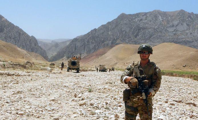 SVS'65-voetballer Levi Slob tijdens zijn eerste missie in Afghanistan eerder dit jaar.