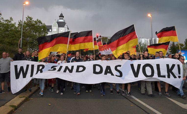 Een 'Pro Chemnitz' demonstratie in de straten van Chemnitz.  Beeld REUTERS