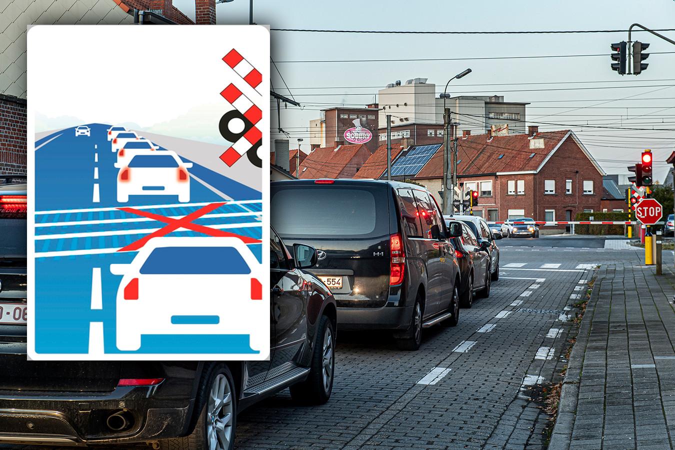 Het nieuwe verkeersbord moet er komen aan bepaalde overwegen waar bestuurders na de overweg regelmatig in de file staan.