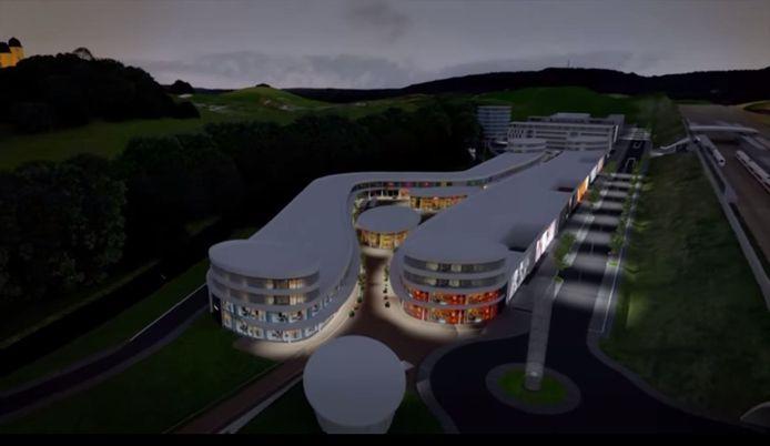 Zo moet het outletcentrum aan de Spoorallee langs de A12 bij Zevenaar eruit komen te zien.