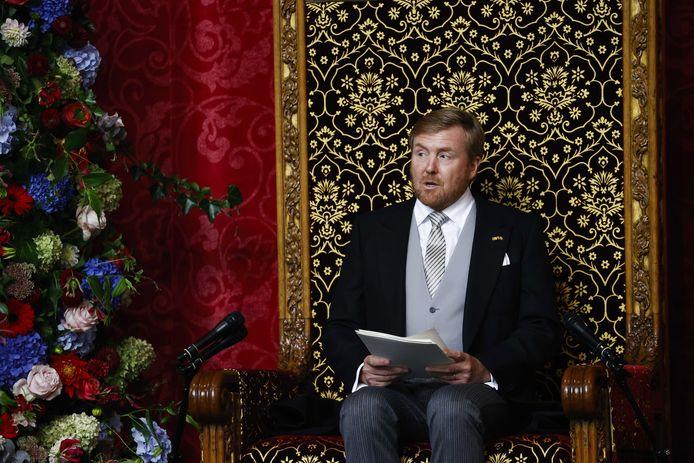 De Nederlandse koning Willem-Alexander tijdens de troonrede in de Grote Kerk in Den Haag.
