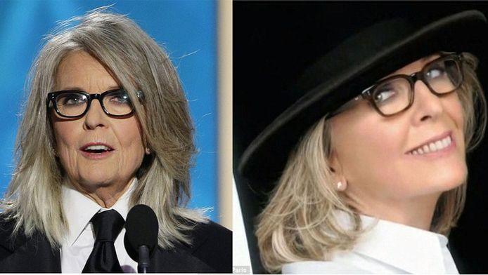 Diane Keaton aux Golden Globes et Diane Keaton dans la pub L'Oréal: un monde de différence.