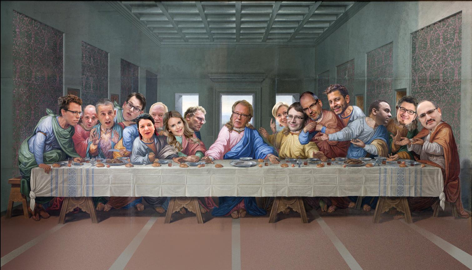 Het Laatste Avondmaal: vijftien Haagse fractievoorzitters, met in het midden Jaap Smit, commissaris van de Koning. Is er een Judas in hun midden?