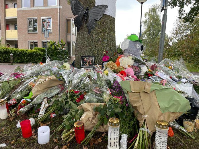 Ook dinsdag branden er nog kaarsjes bij de gedenkplek aan de Esschestraat in Vught.