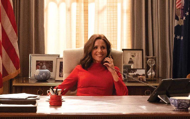 Amerikaans vicepresident Selina Meyer, gespeeld door Julia Louis-Dreyfus in de HBO serie Veep. Beeld Filmstill