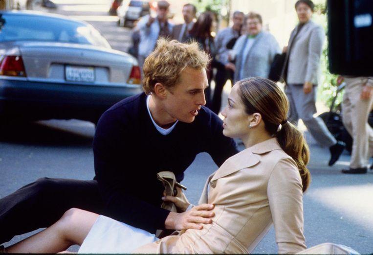 Matthew McConaughey en Jennifer Lopez in The Wedding Planner. Beeld