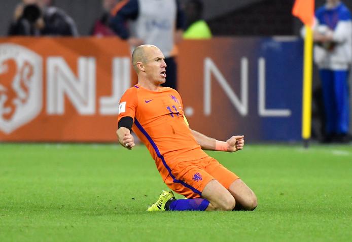 Arjan Robben na 2-0 tegen Zweden.