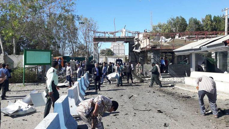 De plek van de aanslag in de zuidelijke stad Chabahar. Beeld EPA