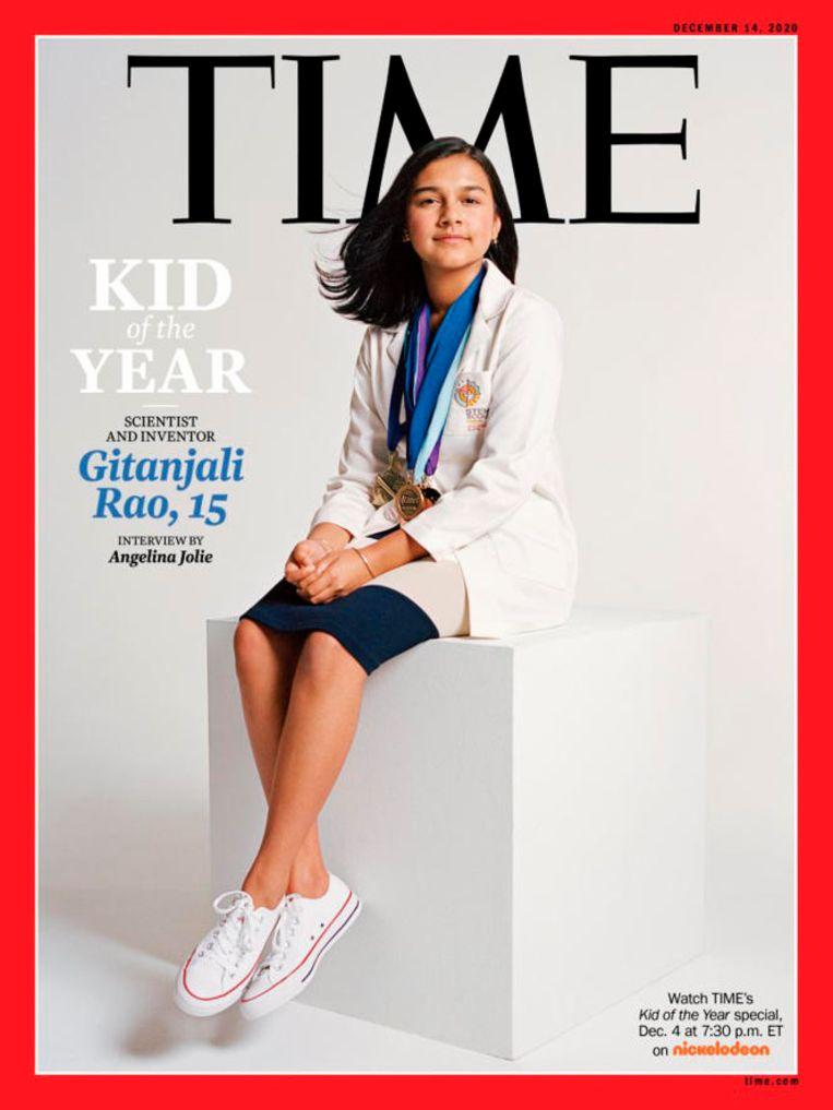 Gitanjali Rao mocht als eerste de titel 'Kid of the Year' van 'Time' in ontvangst nemen. Beeld AP