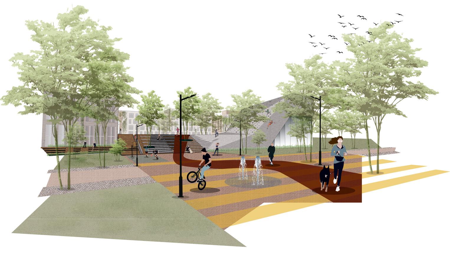 Schets van het woon- en sportcomplex dat moet verrijzen in het Olympuskwartier in Arnhem-Zuid, nabij de Decathlon en De Grote Koppel.