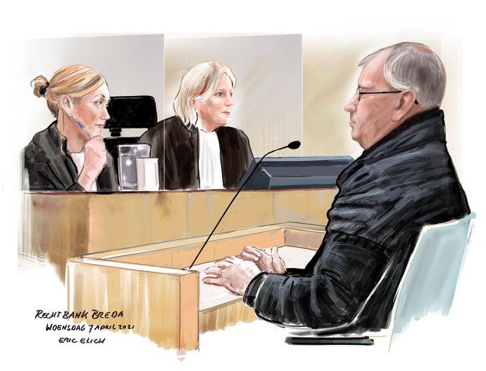 Tekening, gemaakt in de rechtbank in Breda.