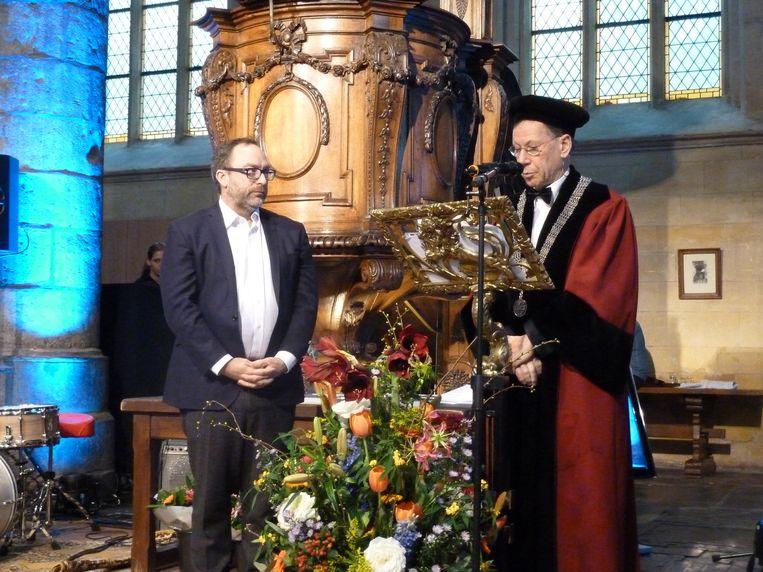 Jimmy Wales in Maastricht, waar hij een eredoctoraat kreeg in 2015. Beeld Romaine via Wikimedia